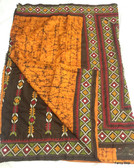 Exclusive Hand Woven Boutique Orange & Black Color Batik Silk Saree With Gujrati Stitch Patli Pallu