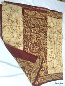 Exclusive Hand Woven Boutique Off White & Dark Brown Color Batik with Katha Stitch Patli Pallu Silk Saree