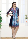 Beautifully Styled Blue Color Faux Georgette Fabric Printed Kurti