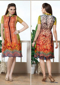 Beautifully Styled Orange, Green & Cream Color Faux Georgette Fabric Printed Kurti