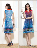 Beautifully Styled Designer Blue Color Faux Georgette Fabric Printed Kurti