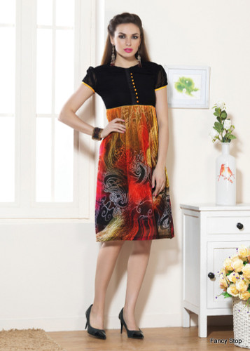 Beautifully Styled Black & Red Color Faux Georgette Fabric Printed Kurti