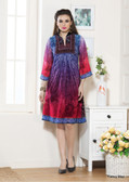 Beautifully Styled Pink & Purple Color Faux Georgette Fabric Printed Kurti