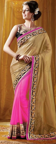 Contemporary Bollywood Style Saree Pink Beige