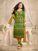 Beautifully Casual Green Color Chanderi Fabric Straight Cut Suit