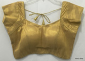 Designer Padded Gold Shimmer SL Saree Blouse Choli Ships From USA