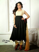 Plain Elegant Anarkali Suit Black and Cream