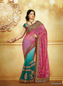 Premium Pink Color Embroidery Designer Work Georgette Saree Green