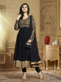 Black Color Embroidery & Lace Border Work  Designer Anarkali Suit