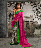 Stylish & Casual Pink & Off White Color Bhagalpuri Silk Saree