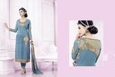 Lively & Classy Sea Blue Colored Faux Georgette Suit