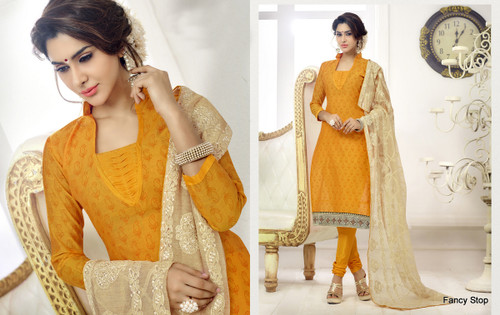 Attractively Designed Yellow colored Cotton Suit
