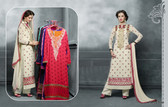 Attractive & Contemporary Cream Colored Faux Georgette Suit