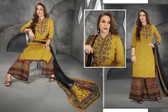 Stylish & Contemporary Mustard Colored Cambric Cotton Embroidered Suit