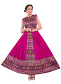 Colorful & Stylish Pink Colored Paper Silk & Banglori Fabric Printed Lehenga