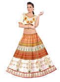 Colorful & Stylish Off White Colored Paper Silk & Banglori Fabric Printed Lehenga