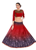 Colorful & Stylish Red Colored Paper Silk & Banglori Fabric Printed Lehenga