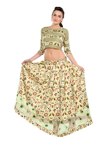 Colorful & Stylish Cream Colored Paper Silk & Banglori Fabric Printed Lehenga