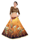 Colorful & Stylish Mustard Colored Paper Silk & Banglori Fabric Printed Lehenga