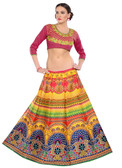 Colorful & Stylish Yellow Colored Paper Silk & Banglori Fabric Printed Lehenga