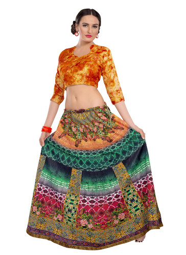 Colorful & Stylish Pink, Blue And Orange Colored Paper Silk & Banglori Fabric Printed Lehenga