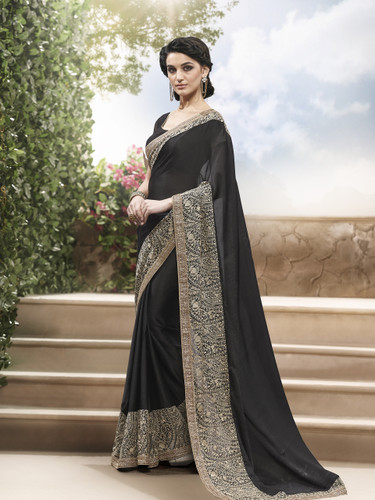Amazing Black Color Chinon Chiffon + Georgette Saree