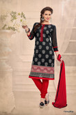 Beautifully Casual Black Color Chanderi Fabric Straight Cut Suit