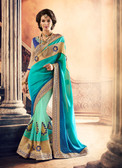 Marvellously Designed Blue & Green Colored Satin & Pure Georgette Saree