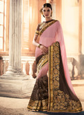 Marvellously Designed Pink & Brown Colored Georgette & Net Saree