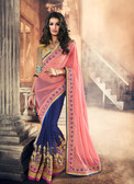 Marvellously Designed Pink & Blue Colored Lycra Net & Georgette Saree