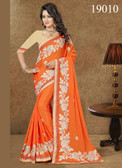 Gorgeous & Lively Orange Colored Chinnon Saree