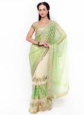 Graceful & Gorgeous Green & Beige Colored Georgette & Lycra Saree
