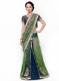 Graceful & Gorgeous Green Colored Net & Viscose Lehenga Saree
