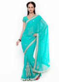 Graceful & Gorgeous Sky Blue Colored Georgette Saree