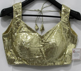 Ready-Made Designer Padded Saree Blouse Choli Golden Glitters