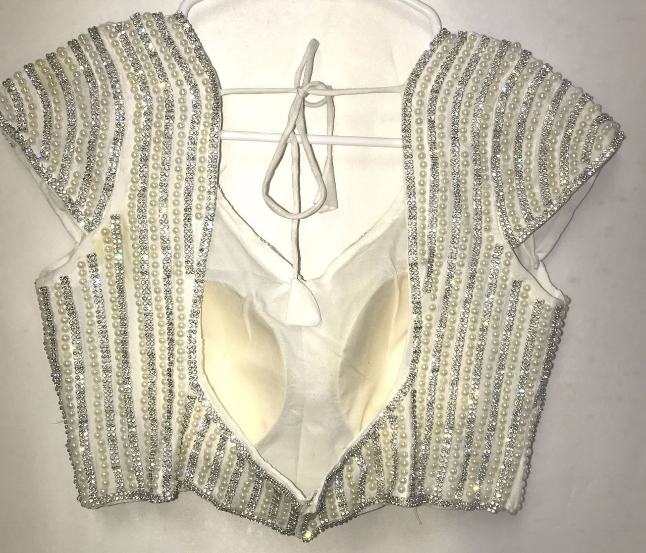 4fce804206699d PREMIUM SAREE BLOUSE Choli Padded Silver Beaded Sequence - $62.50 ...