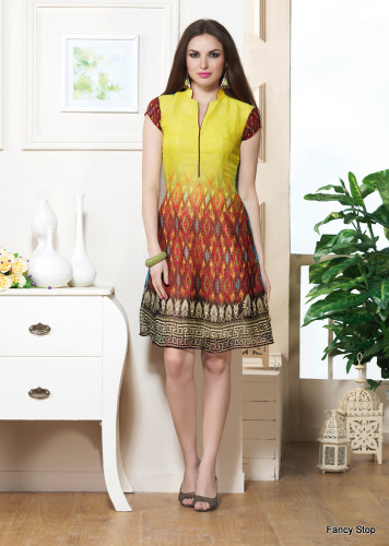 Beautifully Styled Yellow & Brown Color Faux Georgette Fabric Printed Kurti