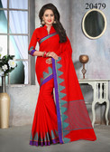 Attractive & Stylish Red Colored Cotton Jute Saree