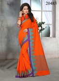 Attractive & Stylish Orange Colored Cotton Jute Saree