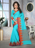 Attractive & Stylish Sky Blue Colored Cotton Jute Saree