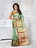 Vibrant & Classy Green Colored Tissue Silk Saree