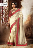 Elegant & Alluring Cream Colored Dupion Silk Saree