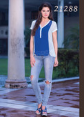 Beautiful & Chic Blue And Off White Colored Georgette Top