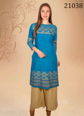Trendy & Comfortable Blue Colored Designer Cotton Kurti