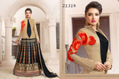Attractive & Classy Beige & Black Colored Taffeta Silk Suit