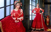 Enchanting Red Colored Georgette And Brocket Fabric Anarkali Suit