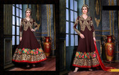 Enchanting Brown Colored Georgette Fabric Suit
