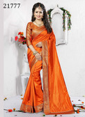 Delightful & Charming Orange Colored Art Silk Saree