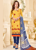 Fabulous & Attractive Yellow Colored Cotton Jacquard Salwar suit