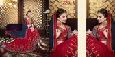 Alluring & Vibrant Red & Navy Blue Colored Georgette & Lycra Saree